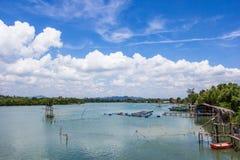 Lantbruk för marin- fisk i söderna av Thailand Arkivfoton