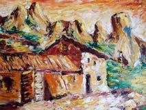 Lantbrukarhem i bergen Arkivbilder
