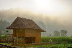 Lantbrukarhem i morgon Arkivfoton