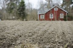 Lantbrukarhem i suddighet bak ett fält Arkivfoton