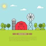 Lantbrukarhembanret för jordbruksprodukter annonserar den plana linjära vektorn vektor illustrationer