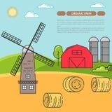 Lantbrukarhembanret för jordbruksprodukter annonserar den plana linjära vektorn stock illustrationer