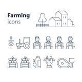 Lantbrukprodukter som symboler ställer in, lantgårdhuset, fruktgrönsaker, ko, mjölkar, kött Arkivbild
