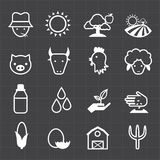 Lantbruksymboler och svart bakgrund Royaltyfri Fotografi