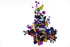 Lantejoulas brilhantes coloridos no fundo branco imagem de stock