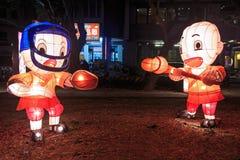 Lanter di carta al fiume dell'amante di Kaohsiung, Taiwan, celebrante il nuovo anno cinese Fotografia Stock Libera da Diritti
