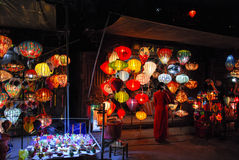 Lanter in Hoi An, Vietnam. Hoi An is located on the coast of the South China Sea. Is recognised as a World Heritage Site by UNESCO. Market at night with a lot of royalty free stock images