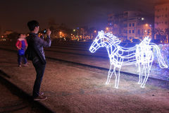 Lanterfestival in Kaohsiung, Taiwan door Pijler 2 kunstcentrum Stock Foto
