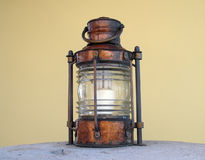 Lantern 2. Old lantern on rhe stone table Stock Photo
