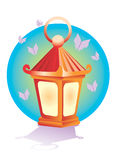 Lantern. Shone lantern with turned butterflies Stock Photo