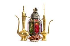 Lantern and arabic golden jug. Oriiental holidays decoration Stock Image