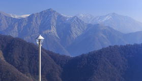 Lantern on the background of the mountains of the Greater Caucas Stock Photography