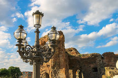 Lantern on a background of ruins in Bologna, Italy Stock Photo