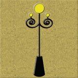 Lantern. Black street lamp post on textured background Stock Photos