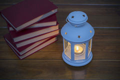 Lantern and books Stock Image