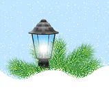 Lantern with the branches of fir-tree on to snow. Vector  illustration Royalty Free Stock Photos