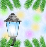 Lantern and branches of tree on a christmas background Stock Photos