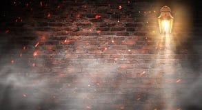 Lantern on the building, night, neon, spotlight, smoke. Background of an empty old brick wall. stock photos