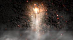 Lantern on the building, night, neon, spotlight, smoke. Background of an empty old brick wall. royalty free stock photos