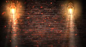 Lantern on the building, night, neon, spotlight, smoke. Background of an empty old brick wall. stock images