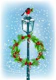 Lantern with bullfinch and Christmas wreath vector illustration