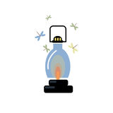 Lantern with a burning candle. Fly the moths. Vector image Royalty Free Stock Photo