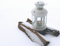 Lantern with burning candle Stock Photography