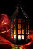 Lantern burning in the dark. Coloful lantern burning in the dark Royalty Free Stock Images