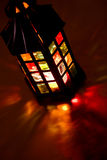 Lantern burning in the dark Stock Photos