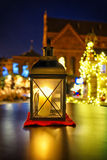 Lantern with candle  at european Christmas market Stock Image