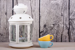 Lantern candle holder and cups vintage Royalty Free Stock Image