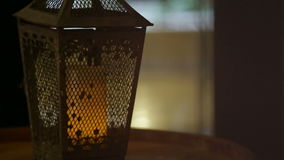 Lantern with a candle stock video