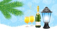 Lantern and champagne with the branches of fir-tree on to snow. Vector  illustration Stock Photo