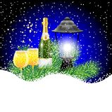 Lantern and champagne with the branches of fir-tree on to snow. Vector  illustration Royalty Free Stock Photo