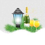 Lantern and champagne with the branches of fir-tree on to snow. Vector  illustration Stock Photos