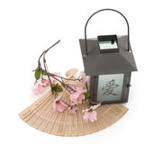 Lantern,Cherry Blossom, and Fan Isolated. Against White Background Royalty Free Stock Image
