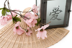 Lantern,Cherry Blossom, and Fan Isolated Stock Images
