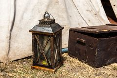 Lantern and chest Royalty Free Stock Images