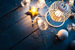 Lantern for Christmas with candles and decorations stock images