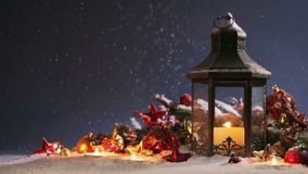 Lantern and christmas decoration stock video