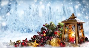 Lantern with christmas decoration royalty free stock photos