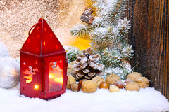 Lantern and christmas decorations Royalty Free Stock Photo