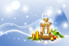 Lantern in Christmas Night Royalty Free Stock Images