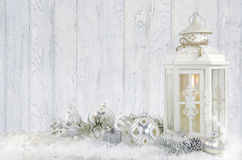 Lantern with Christmas ornaments Royalty Free Stock Images