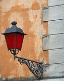 Lantern with Christmas red glass for street furniture of great h Stock Photography
