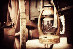 Lantern on Chuck Wagon Royalty Free Stock Images