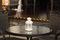 Lantern. Close up a white lantern on the table Stock Image