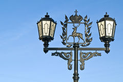 Lantern and coat of arms of city Nizhniy Novgorod Stock Image