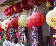 Lantern colors at Hsi Lai Temple. Lantern color year of the Horse celebration at Hsi Lai Temple , Hacienda heights -,CA. USA Royalty Free Stock Photos