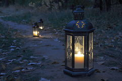Lantern in the dark Stock Photos